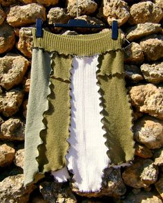 Upcycled Skirt  Asymetrical Sage and Cream by NuLifeClothing, $40.00