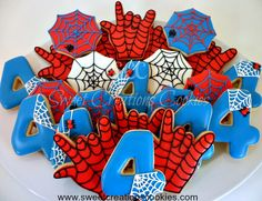 Spider Man Cookies by from Sweet Creations Cookies. Using a Spiderweb Cookie Cutter, I Love you Hand Cookie Cutter, and Number 4 Cookie Cutter. Spiderman Cookies, Superhero Cookies, Superhero Birthday Party, 6th Birthday Parties, Man Birthday, Birthday Ideas, Iced Cookies, Cute Cookies, Sugar Cookies
