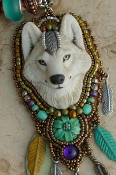 White Wolf Necklace via Etsy