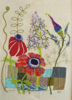 Embroidered meadow flowers with applique and back stitch by Liz Cooksey.