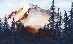 Watercolor Painting painted by Linda Zirkle. The back side of Mt Hood. Photo was taken by Terri Fischer and she gave it to me to paint.