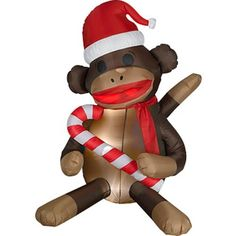 Over 5' Airblown Inflatable Sock Monkey and candy cane Lighted Christmas Yard Art Decoration by Gemmy. $69.99. Easy set up - Stakes and Tie Downs Included; UL Listed Adaptor; Indoor/Outdoor Use - Weather Resistant; Over 5' tall; Super Bright LED lights consume 80% less power. You'll be sure to catch everyones's attention with this cute Sock Monkey in Santa Hat. Winterize your backyard or place of business with holiday fun!