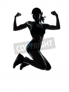 one caucasian woman runner jogger jumping powerful in silhouette studio isolated on white ba via MuralsYourWay.com