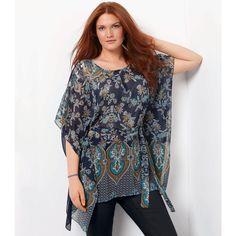 Blusa modelo quadrado, estampado oriental, com cinto amovível, Taillissime | La Redoute