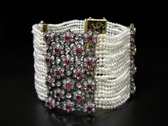 NATURAL PEARLS BRACELET WITH DIAMONDS AND RUBIES, FRANCE ABOUT 1880