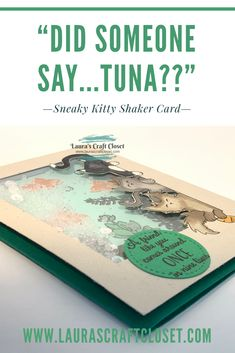 """Did someone say """"tuna?"""" Sneaky Kitty Shaker Card has three cunning cats checking on an aquarium. Make your own with this tutorial! Digital stamp from Knitty Kitty Digis, all others from Cat Cards, Cat People, Shaker Cards, Digital Stamps, Tuna, Card Stock, Stampin Up, Aquarium"""