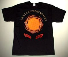 13th FLOOR ELEVATORS Easter Everywhere CUSTOM ART UNIQUE T-SHIRT Each T-shirt is individually hand-painted, a true and unique work of art indeed!  To order this, or design your own custom T-shirt, please contact us at info@collectorware.com, or visit http://www.collectorware.com/tees-13thfloorelevators_andrelated.htm