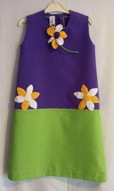 Purple and green retro style dress with crochet by LittleYeya,