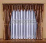 Firanka DALIA Elegancki komplet żakardowy. #Biała_firanka z żakardowym wzorem,  do tego  brązowe zasłony i takiż lambrekin. Całość prezentuje się klasycznie i elegancko.Każdy z elementów  uszyty na taśmie  marszczącej.  Wymiar użytkowy: 350 x 250 cm kasandra.com.pl
