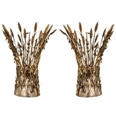 Pair of Italian Gilt Wheat Sconces   From a unique collection of antique and modern wall lights and sconces at https://www.1stdibs.com/furniture/lighting/sconces-wall-lights/