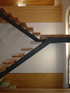 Escalier limon central et marches bois