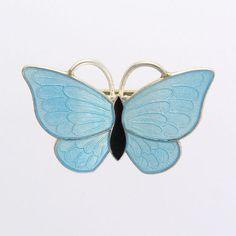 Vintage Silver Enamel Butterfly Brooch/Pin - VOLMER BAHNER - Denmark