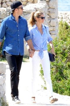 Gisele Bundchen wearing K.Jacques Epicure Sandals, Chanel 5288q Sunglasses and J.Mclaughlin Lois Shirt