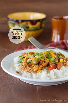 Slow Cooker Tex Mex Chicken via Taste & Tell Blog; Meal Plans Made Simple