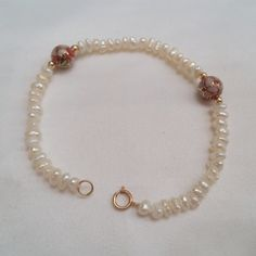 14K Freshwater Pearl Bracelet Gold beads Red Cloisonne Beads Vintage Jewelry by Zeppola on Etsy
