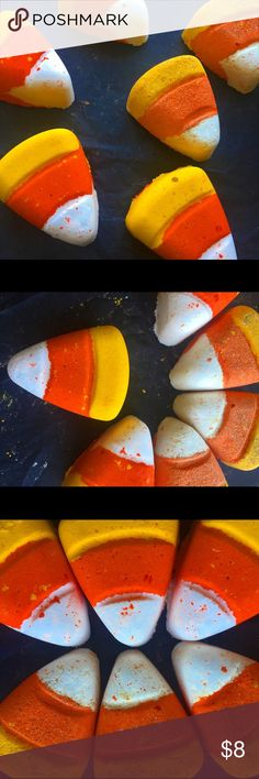 Candy Corn Bath Bomb What is more perfect than Candy Corn? Now you can enjoy every ones favorite fall treat in the tub! This candy corn shaped bath bomb smells exactly like the real thing and will leave your skin feeling soft and moisturized! Makeup