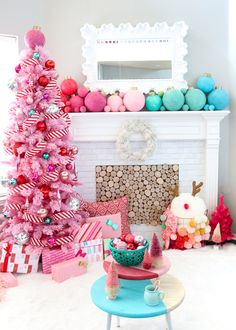 A Kailo Chic Life - Kailo Chic - DIY your way to a colorful life! : A Kailo Chic Life: Our Merry and Bright Christmas Traditions - pink flicked tree - peppermint themed Christmas tree - giant ornament decorations Pink Christmas Tree, Whimsical Christmas, Christmas Room, Christmas Tree Themes, Noel Christmas, Retro Christmas, Outdoor Christmas, Christmas Traditions, Winter Christmas