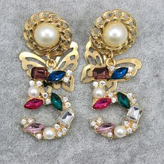 style  Earrings 5 Digital baroque pearl butterfly drop cc earrings wholesale-in Drop Earrings from Jewelry & Accessories on Aliexpress.com | Alibaba Group