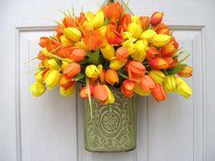 Tulip Wreath  Spring Wreath  Easter Wreath  by AWorkofHeartSA, $55.00