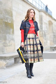Tiany Kirloff poses wearing An Italian Theory top and skirt and Halaby clutch on Day 8 of Paris Fashion Week Womenswear FW15 on March 10, 2015 in Paris, France.