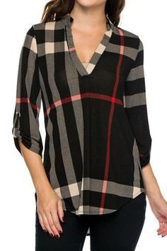 Plaid Blouse in Black and Red