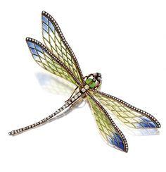 Art Nouveau Plique-à-jour enamel and diamond dragonfly brooch, French, circa 1900.
