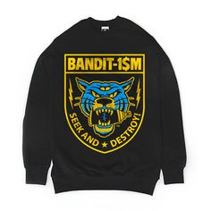 TIGER FRONT CREWNECK BLACK Our streetwear clothing shop is packed with gorgeous, graphic Gear such as this one. Easy to match with your favorites sneakers  Exclusively designed by Scien and Klor for their independent  streetwear brand Bandit-1sm x 123Klan.