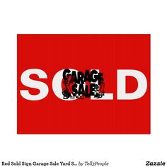 Red Sold Sign Garage Sale Yard Sale by Tell3People Sold Sign 3f824e9096b7