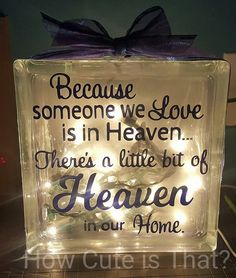 Memorial glass block light: this beautiful glass block is perfect to display as a memorial for your lost loved ones. 8x8x3 Glass Block with lights.