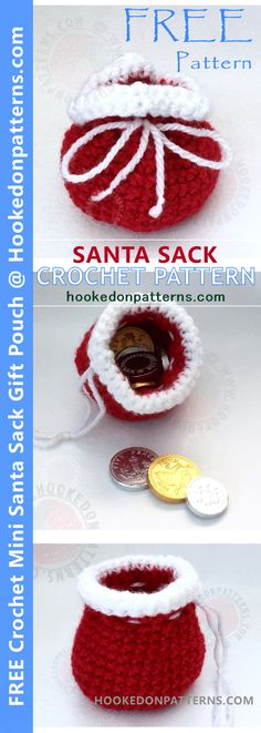 Free crochet Santa sack pattern from Hooked On Patterns! Cute mini Santa sack gift pouches. Perfect little stocking filler gifts, filled with chocolate or sweets.