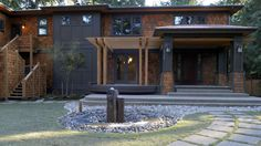 Rock Water Fountains Exterior Craftsman with Beam Black Exterior Black