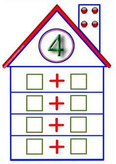 Jeux mathématiques en maternelle / la maison des additions Preschool Music, Numbers Preschool, Math Numbers, 1st Grade Math, Kindergarten Math, Teaching Math, Math Games, Math Activities, Math Measurement