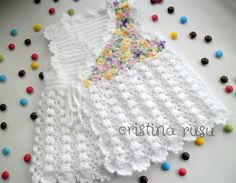 White baby  crochet dress with handmade embroidery , spring flower baby dress , multicolored  flower embroidery