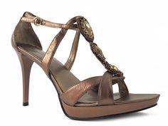 Nine West Women's Youasko Jeweled Sandals Copperdust Leather Size 9.5 M #NineWest #PlatformsWedges