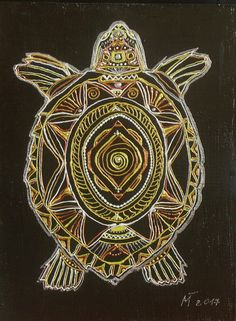 Little acrylic graphic picture small picture turtle fantasy