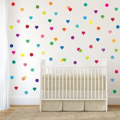 72 FUN bright multi-color dot and heart adhesive fabric wall decals. Removable and reusable non toxic wall decals! Our polka dots and hearts will add a burst of color to your walls. Great for kids roo