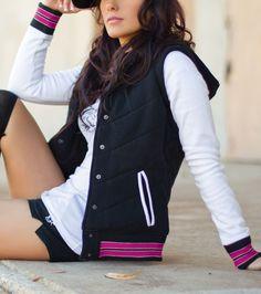 Metal Mulisha Maidens Emma Fleece Jacket. Quilted chveron. Black white & pink.