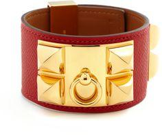 Hermes Rouge Epsom Collier de Chien Bracelet on shopstyle.com