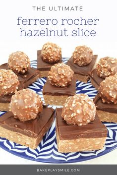 There is NOTHING more decadent than a slice of Ferrero Rocher Chocolate Hazelnut Slice. It looks amazing, but is completely no-bake… and totally simple!! #ferrero #rocher #slice #chocolate #hazelnut #nobake #recipe #easy #thermomix #conventional