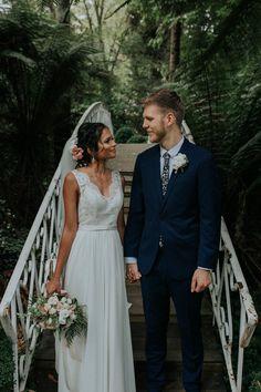 Whimsical forest wedding #brideandgroom #laceweddingdress