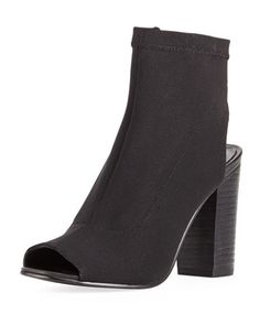 Sybil Cutout Pique Fabric Bootie, Black  by Steven by Steve Madden at Neiman Marcus Last Call.