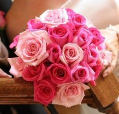 #bouquet, featuring roses in shades of pink