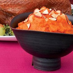 Mashed Sweet Potatoes & Apples Recipe >>>> Sweet potatoes are perfect with any meal, especially when coupled with cinnamon applesauce and chunks of dried apple chips. Cut cooking time in half by zapping the taters in the microwave instead of baking them in the oven.  Vegan • Gluten free • Paleo