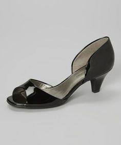 Look what I found on #zulily! Black Primacera Open-Toe Kitten Heel #zulilyfinds