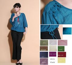 Ethnic Style Drawstring Silk Blouse with Handmade by Ramies, $59.00