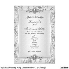 25th Anniversary Party Damask Silver White