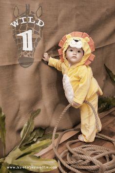 Safari Birthday.  First Birthday Invitation.