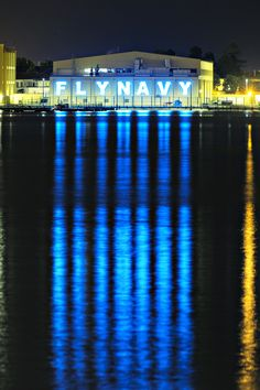 While taking some nightime photos of downtown San Diego, I could not miss the Fly Navy sign illumionating over the San Diego Bay from the North Island Navy Base.