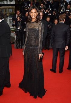 All the Red Carpet Glamour Straight From Cannes (Updated!): Liya Kebede hit the red carpet for Jimmy P.:Psychotherapy Of A Plains Indian in a beaded Roberto Cavalli gown — and a megawatt smile.