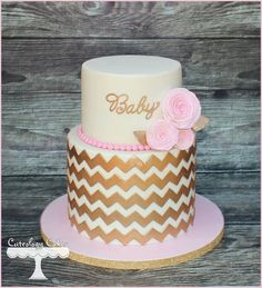 Pink and gold chevron baby shower cake with wafer paper roses. www.facebook.com/i.love.cuteology.cakes